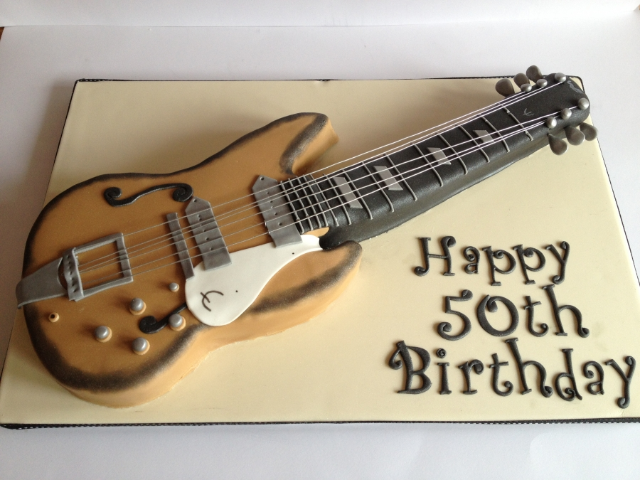 Terrific Guitar Cake Personalised Birthday Cards Akebfashionlily Jamesorg
