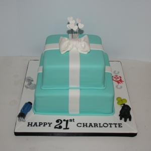 Two tier Tiffany box cake with interests