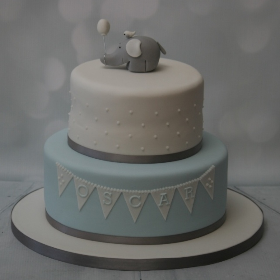 Blue Grey Elephant Christening Cake