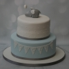 Blue/grey elephant christening cake