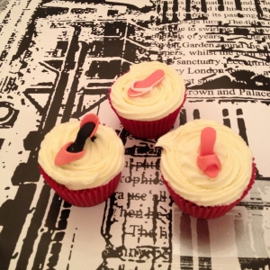 Pink shoes cupcakes