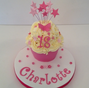Baby Giant Cupcake pink star explosion