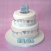 Boys christening cake - trains & bunting
