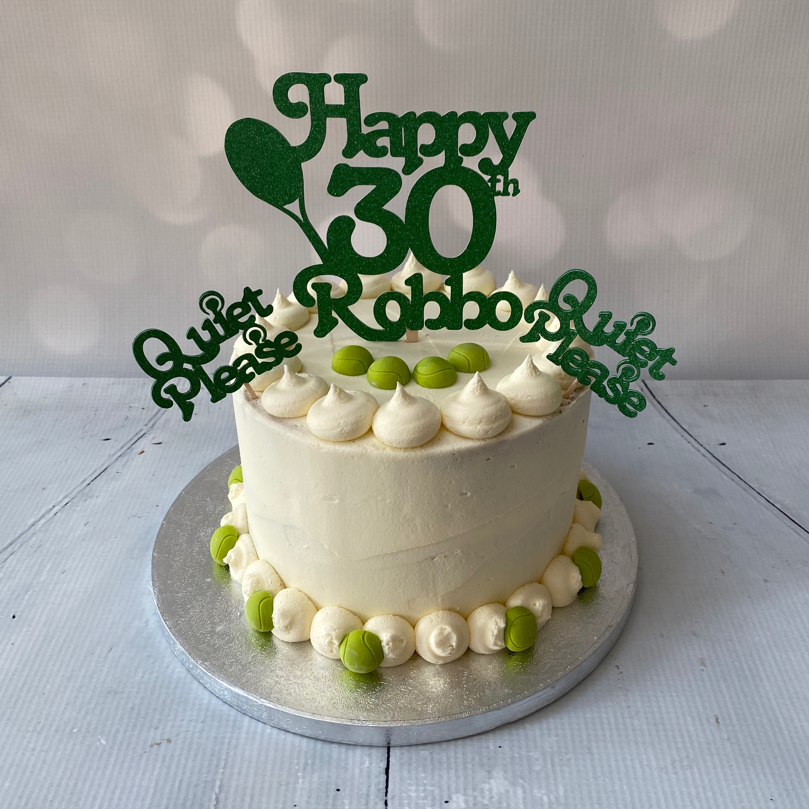 Tennis themed buttercream cake