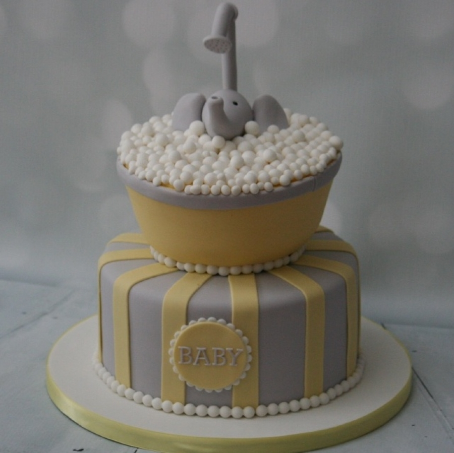 Yellow Grey Elephant Baby Shower Cake