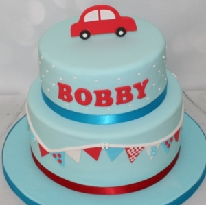 Red/Blue christening cake