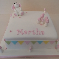 Bunny rabbit girls christening cake