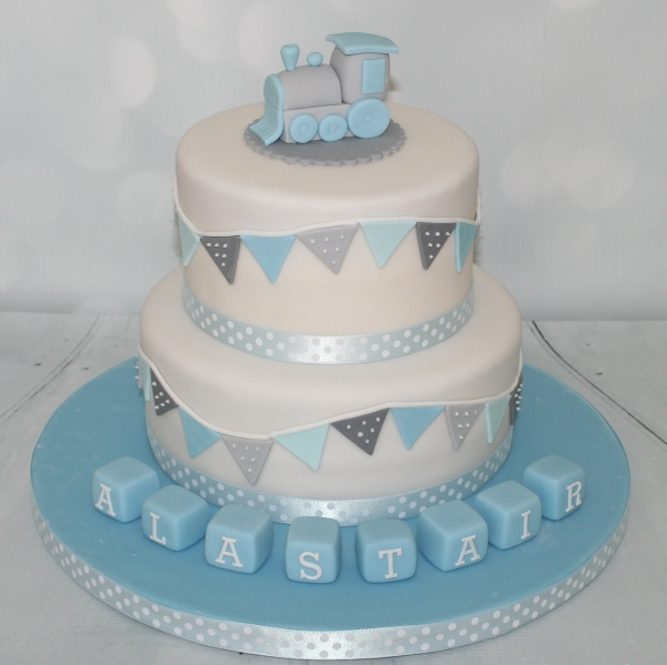 Blue Grey Christening Cake