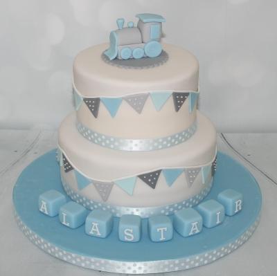 Blue Grey Christening Cake