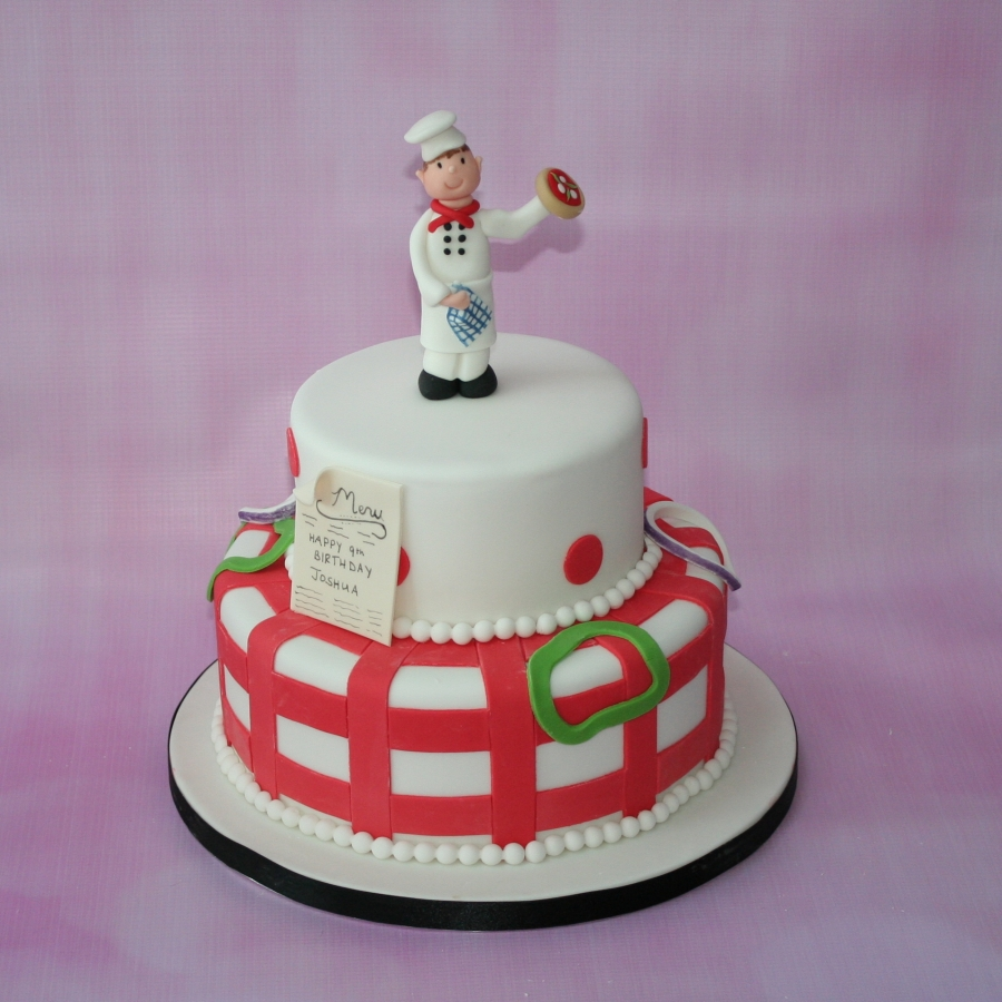 Wondrous Pizza Chef 2 Tier Cake Personalised Birthday Cards Petedlily Jamesorg