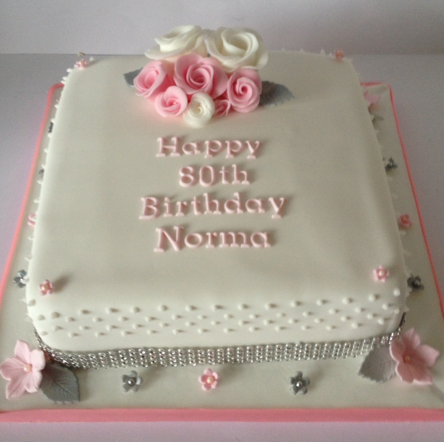 Pinksilver 80th birthday cake