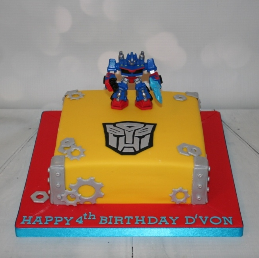 Admirable Square Transformers Theme Cake Funny Birthday Cards Online Alyptdamsfinfo