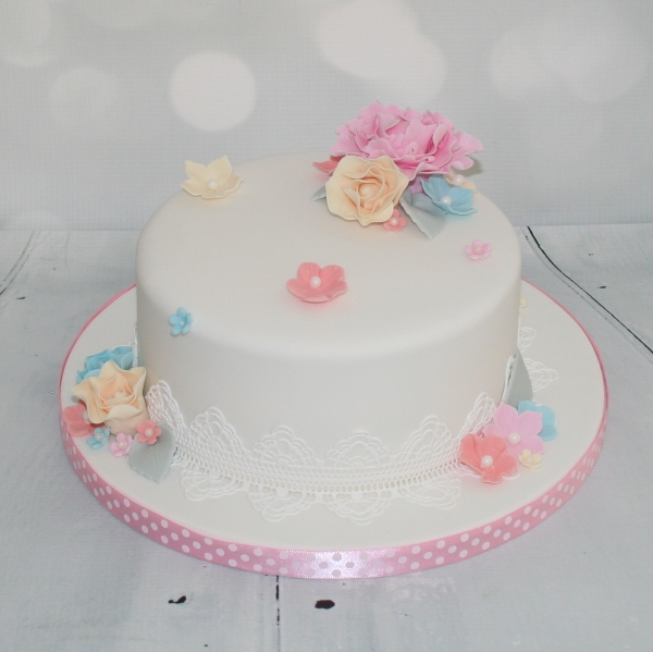 Candy colours wedding cake - single tier