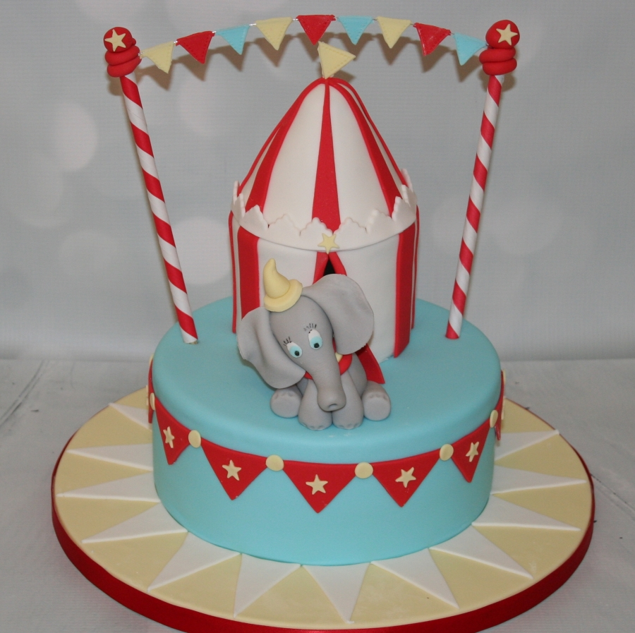Amazing Dumbo 1St Birthday Cake Birthday Cards Printable Trancafe Filternl