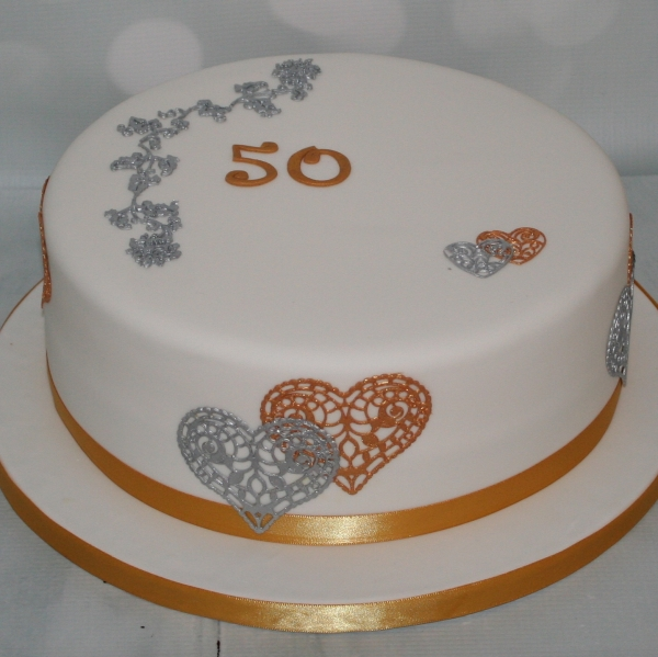Gold Silver 50th Birthday Cake