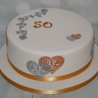 Gold/Silver 50th birthday cake