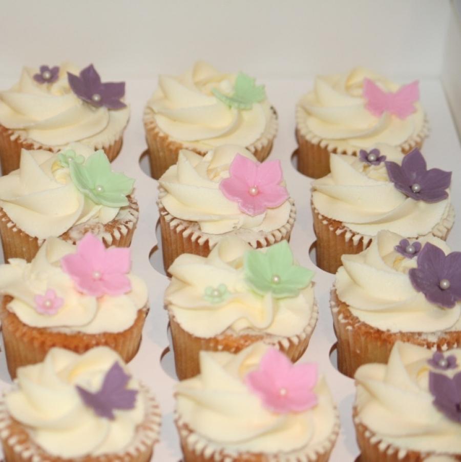 Pink Green Purple Flower Cupcakes