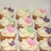 Pink, green & purple flower cupcakes
