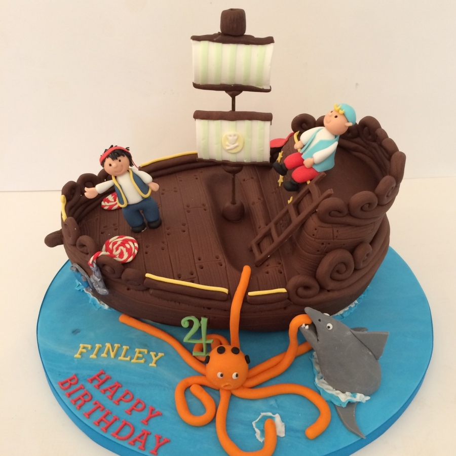 Super Pirate Ship Cake Birthday Cards Printable Riciscafe Filternl