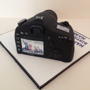 Canon camera cake - back view