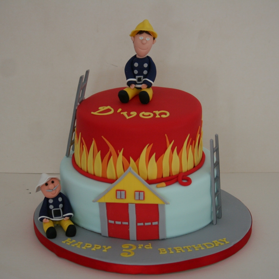 Pleasing Two Tier Fireman Sam Cake Funny Birthday Cards Online Alyptdamsfinfo
