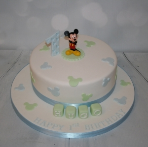 Blue/green Mickey Mouse 1st birthday