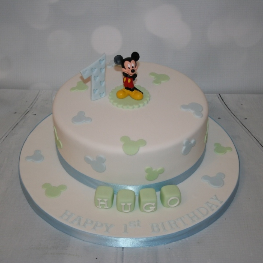Fabulous Blue Green Mickey Mouse 1St Birthday Personalised Birthday Cards Bromeletsinfo