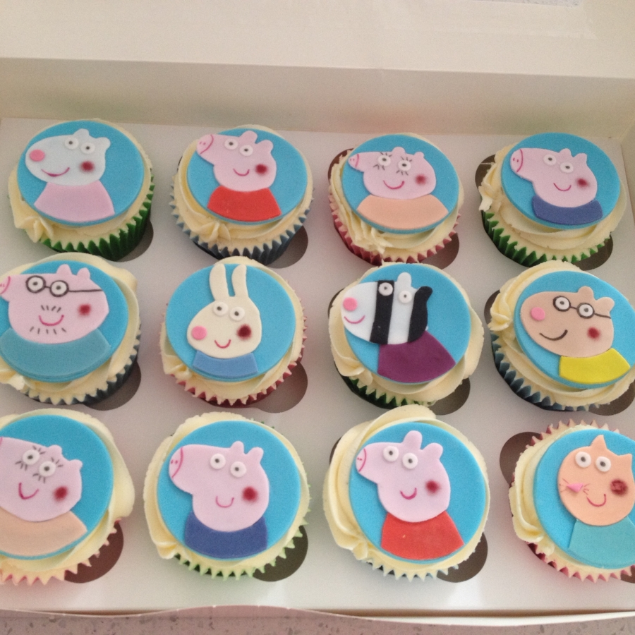 Peppa pig cupcakes including all your favourite peppa pig characters