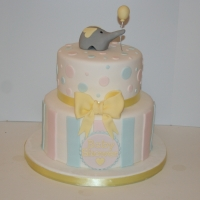 2 tier elephant babyshower cake - pink, blue & lemon