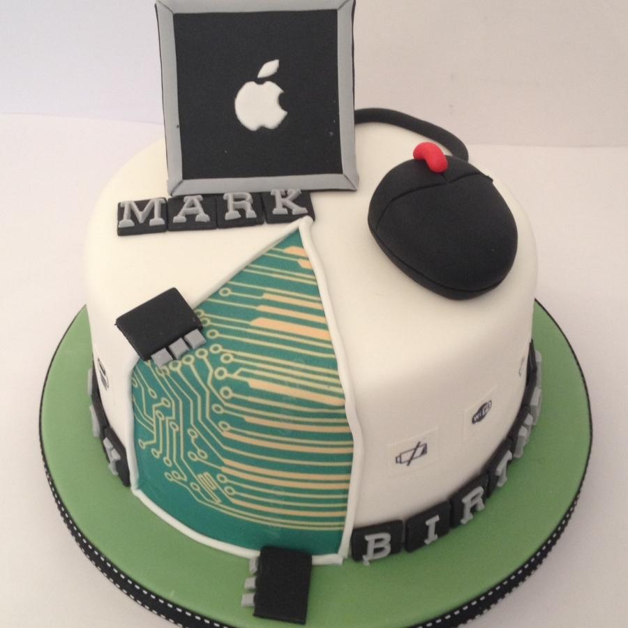 Computer theme birthday cake