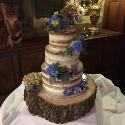 Naked Wedding Cake At Whitley Hall Hotel
