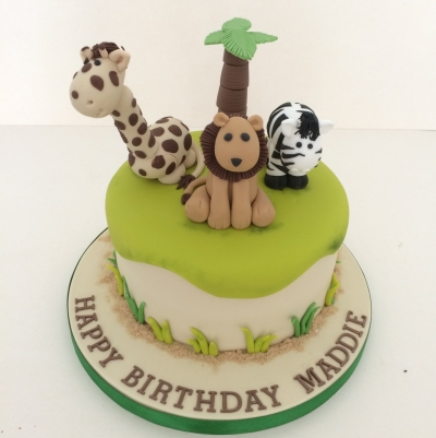 Single Tier Safari Animal Cake