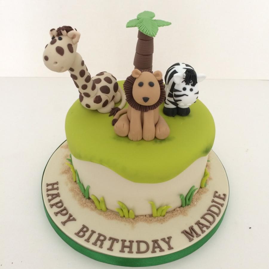 Admirable Single Tier Safari Animal Cake Personalised Birthday Cards Paralily Jamesorg