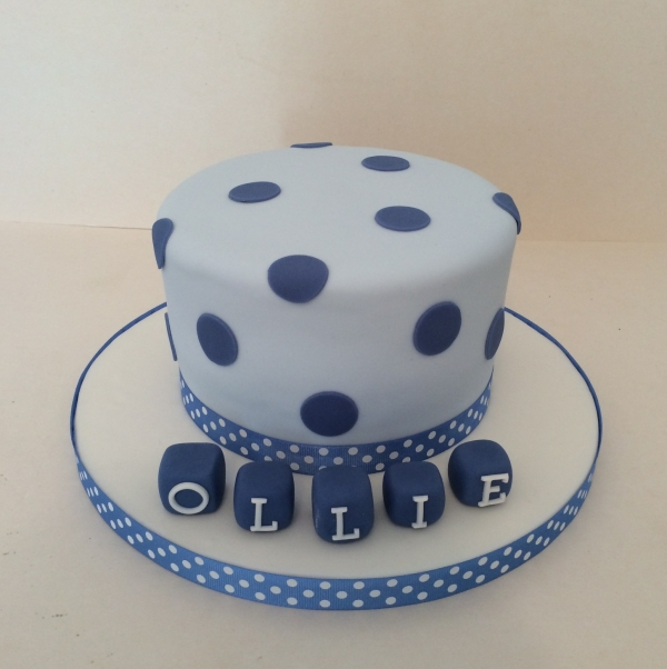 Spotty christening cake - boy