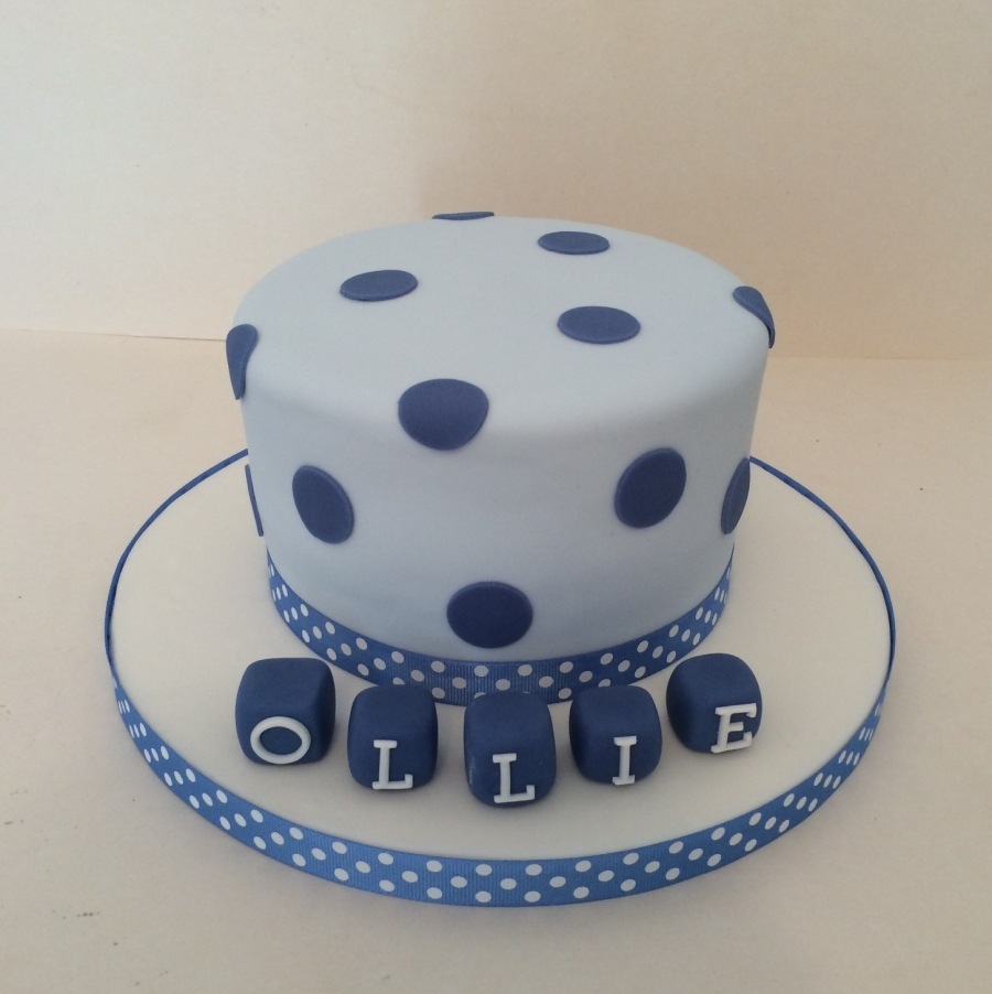 Spotty Christening Cake Boy