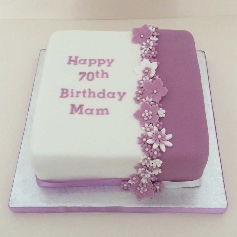 Two tone purple 70th birthday cake