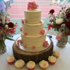 Pink hydrangea semi-naked wedding cake
