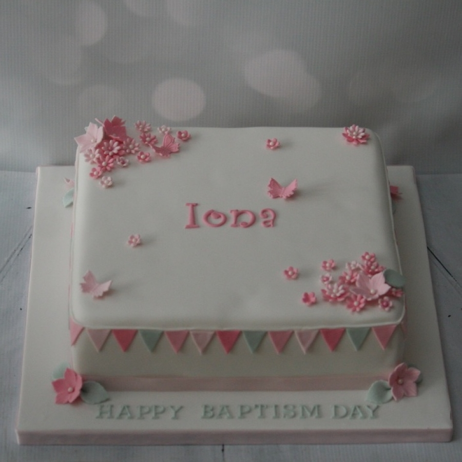 Pink Flowers Bunting Christening Cake