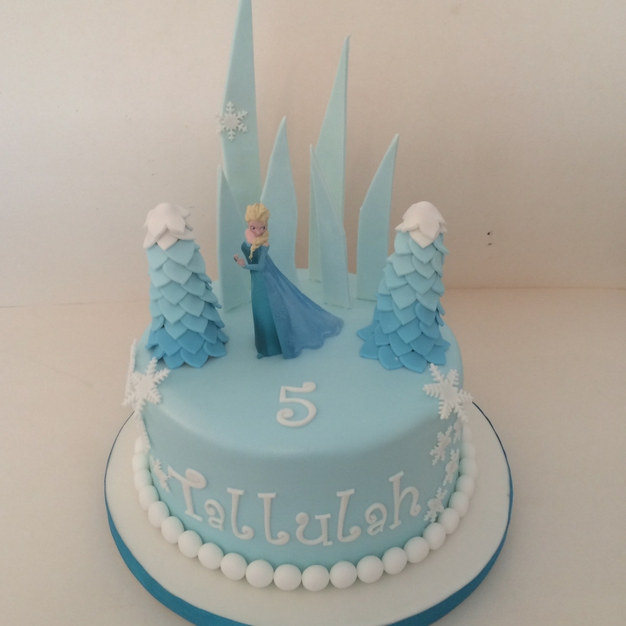 Frozen cake with Elsa ice shards trees