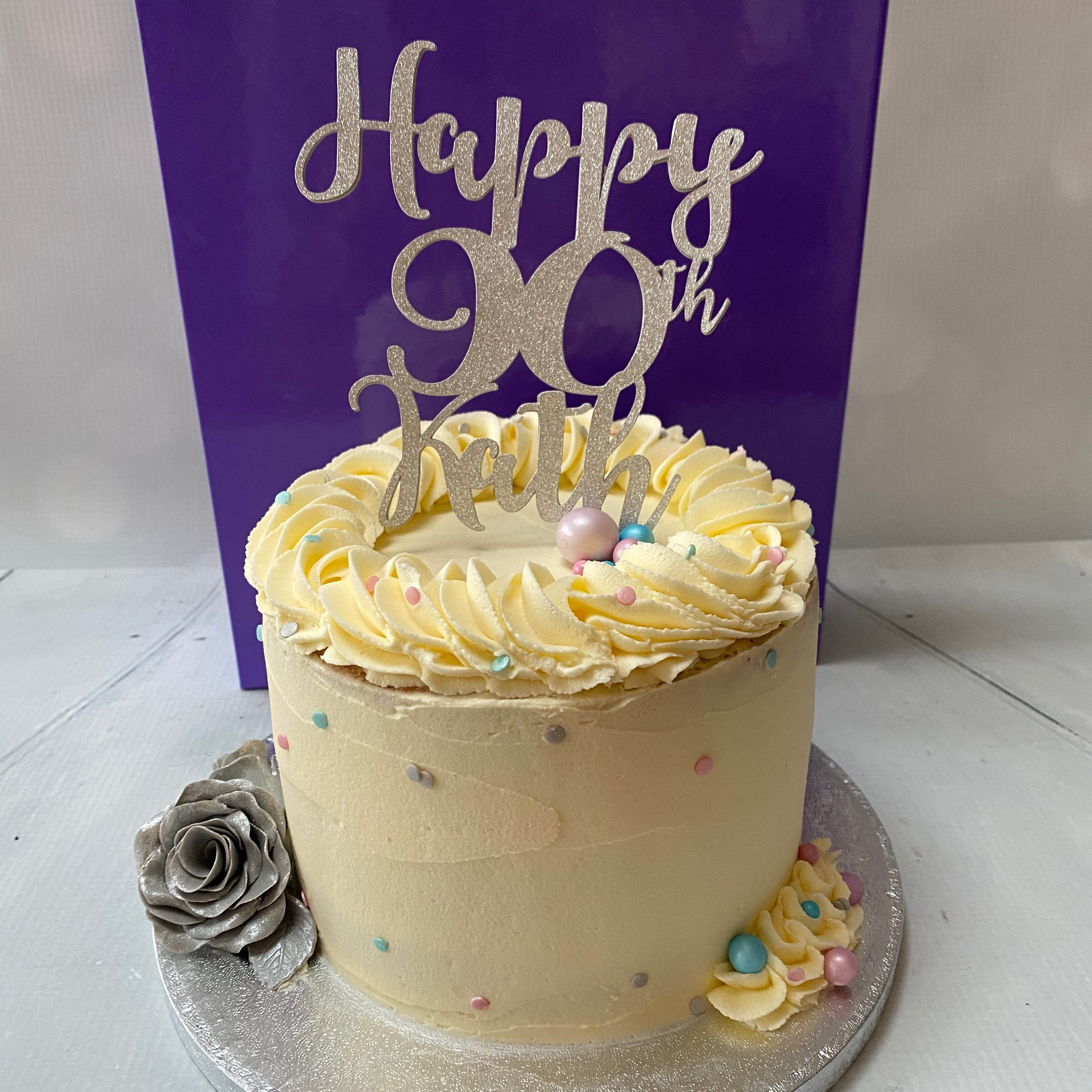 Silver theme buttercream cake