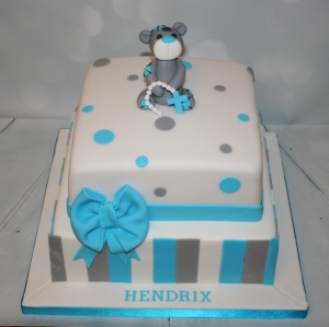 Square blue/grey christening cake