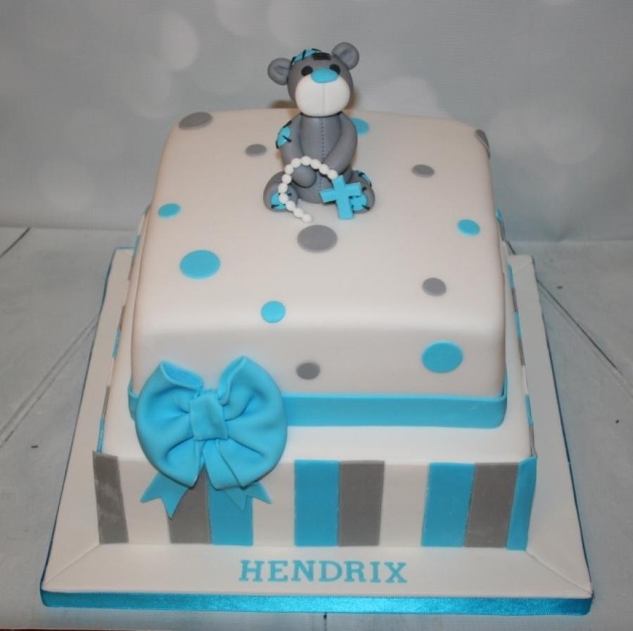 Square Blue Grey Christening Cake