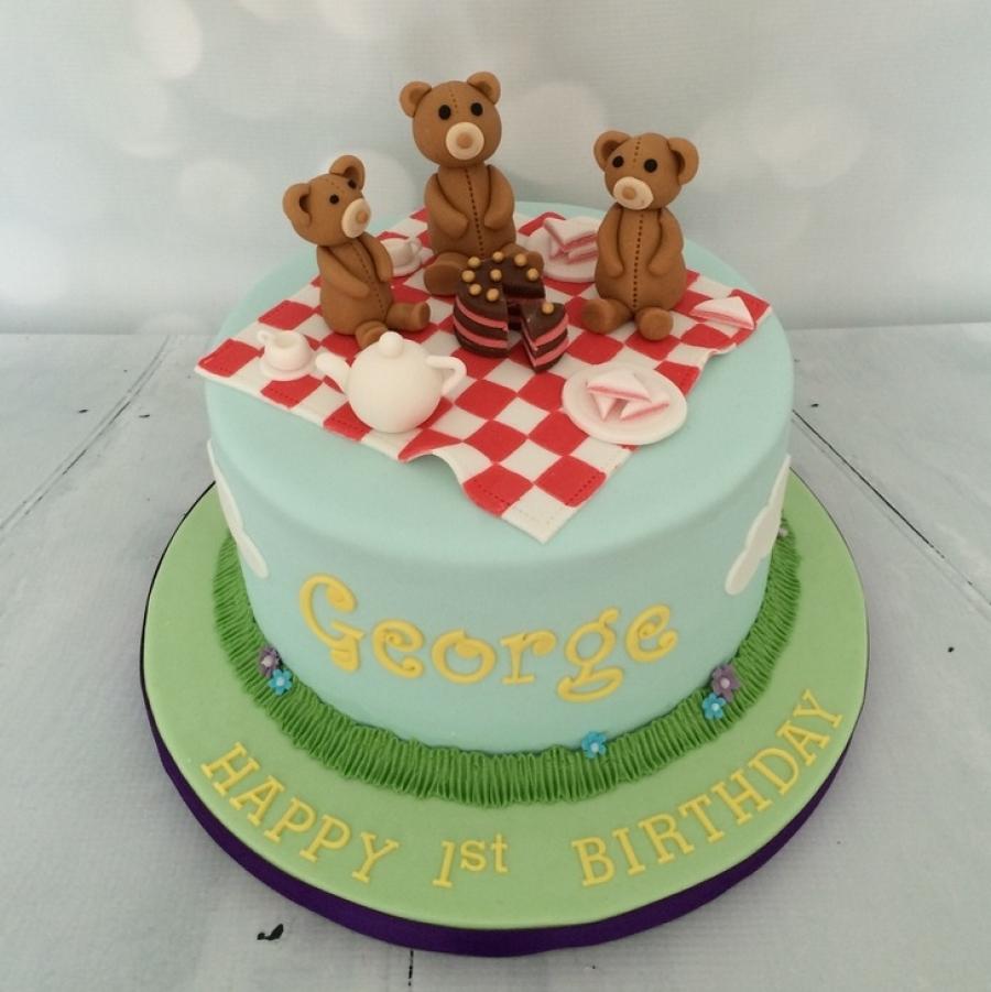 Teddybears Picnic 1st Birthday Cake