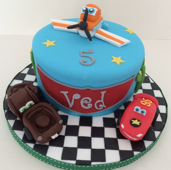 Planes & Cars single tier cake