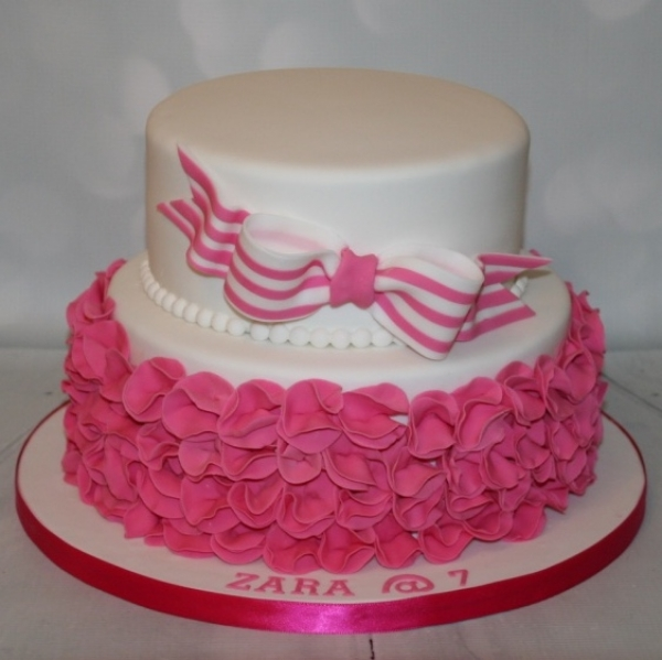 2 tier pink ruffle with stripey bow