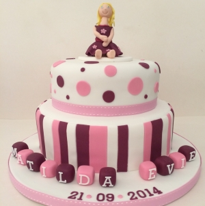 Spots and stripes 2 tier pink christening cake