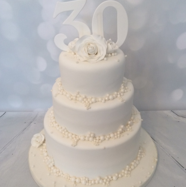 Cake Decorations For 30th Wedding Anniversary : 3 tier Pearl Wedding Anniversary