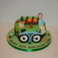 Allotment & cycling theme cake