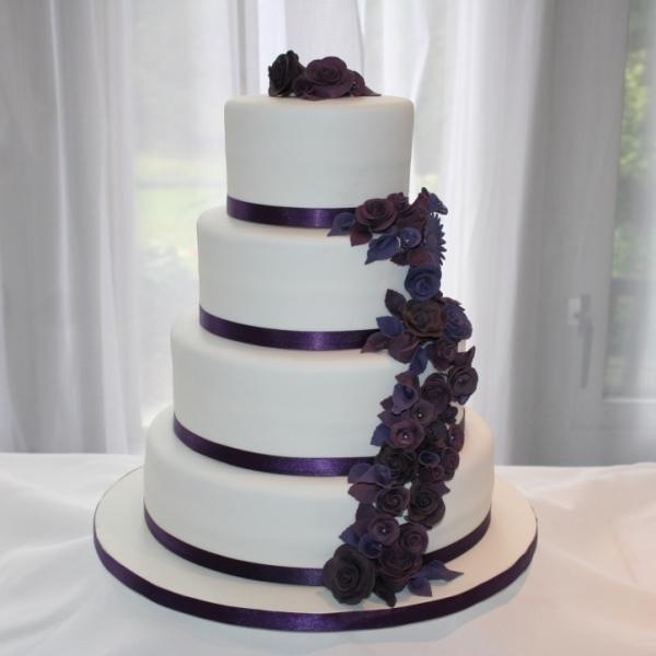 4 Tier Purple Flowers Wedding Cake