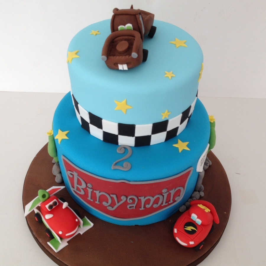 Two tier Cars theme cake